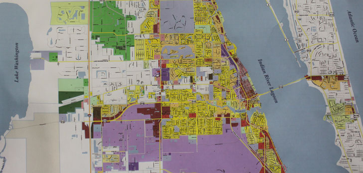 Close up of  Melbourne zoning map.