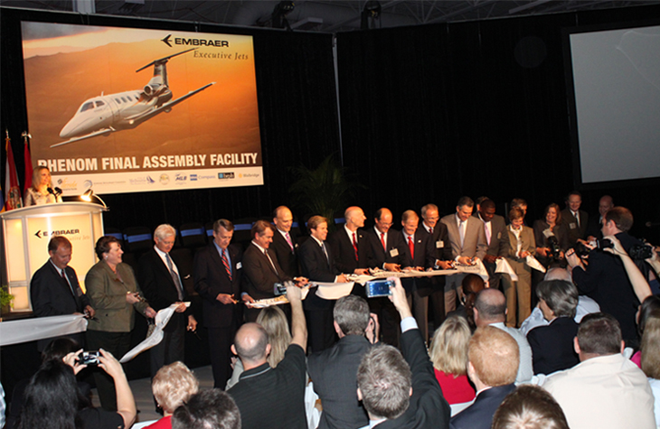 Embraer Executive Jets ribbon cutting event for Phenom Final Assemply Facility