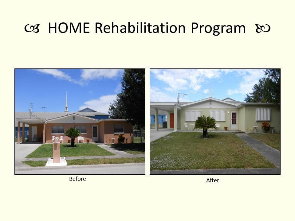HOME Rehabilitation Program before and after photo.