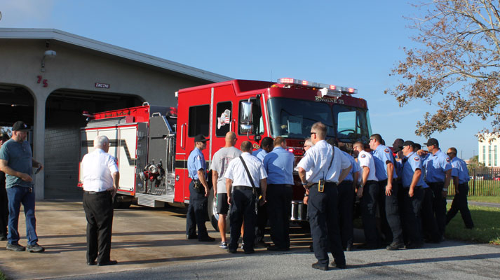 Push in ceremony dedicating new fire engine at Station 75 on September 22, 2017
