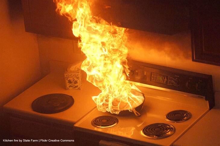 Kitchen fire by State Farm on Flickr Creative Commons  https://creativecommons.org/licenses/by/2.0/