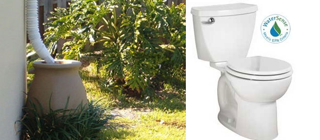 "Image of a rain barrel on left and image of a ""Water Sense"" toilet on right."