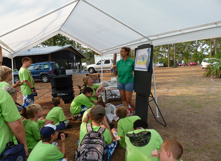 A member of the Environmental Community Outreach Division gives a presentation to school children.