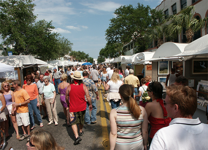 Eau Gallie Arts District Art Show - People enjoying street event with local artists and vendors