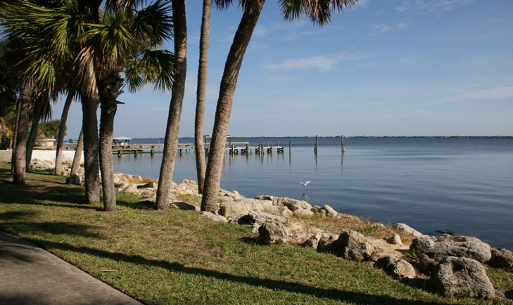 A view of the Indian River Lagoon from Pineapple Park, Eau Gallie