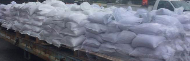 Sandbags filled in advance of Hurricane Irma, September 2017