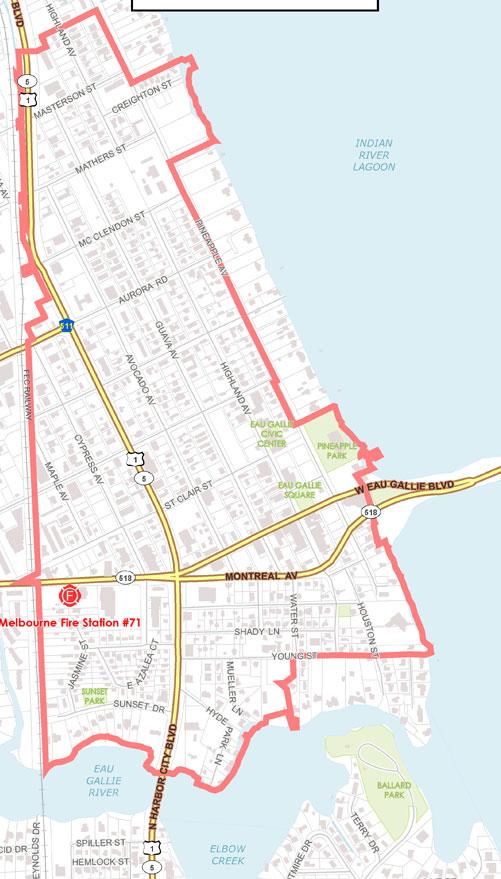 Map Of Florida Area.Map Of Olde Eau Gallie Cra City Of Melbourne Fl