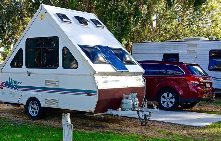 camper and recreational vehicle at campground