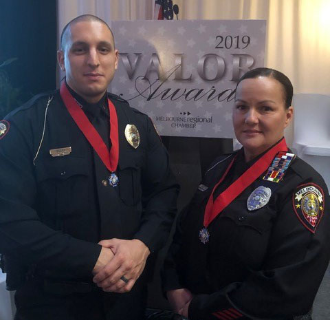 Officer Dolci and Officer Faulk at the Valor Awards ceremony.