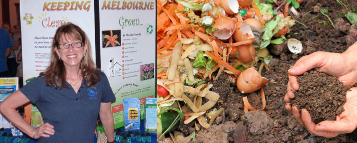 Jennifer Wilster on the left in front of an environmental education exhibit; composting on the right